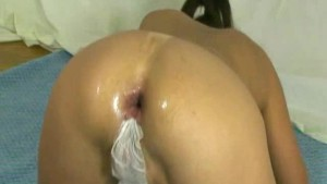 Three dildos stuffed in her destroyed asshole