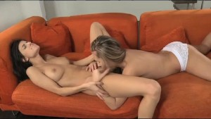 Lesbea Teen with big tits orgasms