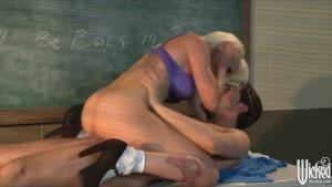 Incredibly HOT blonde schoolgirl bangs her classmate
