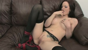 Stocking Clad Brunette and Her Red Dildo - Mavenhouse