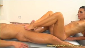 gymnast gives a kamasutra nuru massage