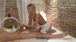 Massage Rooms Blonde teen massages client s cock with her tight pussy