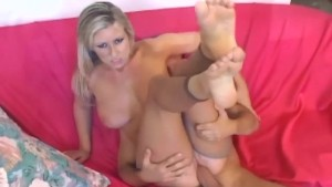 Busty blonde fucking and footjob in nude pantyhose