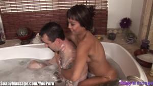 Asian Masseuse Bath and Blowjob