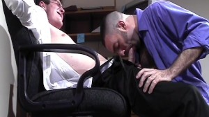 Sharing blowjob at work- Factory Video Productions