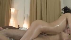Girl in oil makes erotic massage and sucks