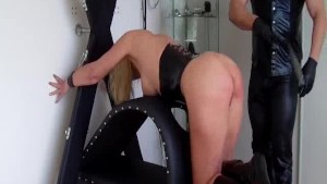 Busty slave fist fucked in her loose cunt till she squirts