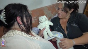 Mature lady playing with chubby woman