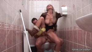 sexy blonde fist penetrated in a public toilet only at pornmike.com