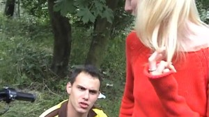 Blonde fuck in the woods near the road