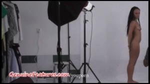 Long-haired brunette in hot backstage clip