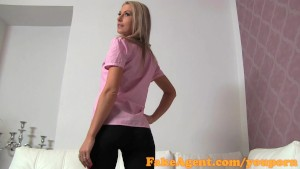 FakeAgent Skinny blonde amateur gets sprayed with spunk