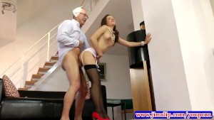 Teen amateur in stockings riding