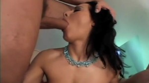 wild brunette amateur gets double anal from two big cocks