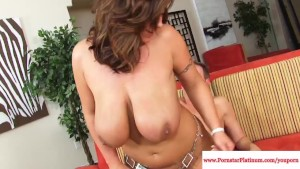Eva Notty jizzed on her massive tits