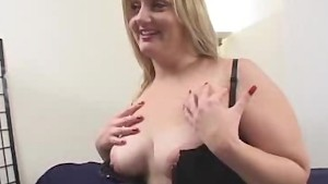 BBW In Lingerie Stripped And Sucks On Two Cocks!