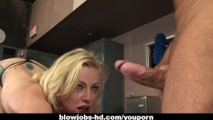 Slutty blonde cutie Adrianna Nicole gets facefucked