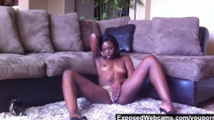 Cute Black Teen Orgasming On The Floor