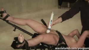 Master ties her down for intense electic play and dildo insertions