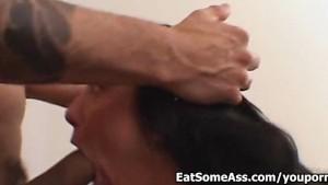Energetic Ass Eater Vandalia slurps man ass then swallows hot Cum