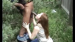 guy has a quickie outdoors with his horny gf, fucking her with his BBC on camera!!