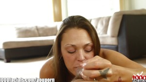 1000Facials Cute brunette s face full of cum!