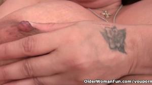 Granny with milk leaking nippl