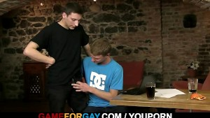 Hetero dude gets pounded on the table