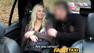 FakeTaxi Blonde talked into sucking and fucking on the backseat