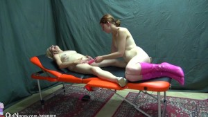 Old and young woman licking and masturbate