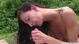 Bitch STOP - Skinny Czech chick gets fucked outdoors