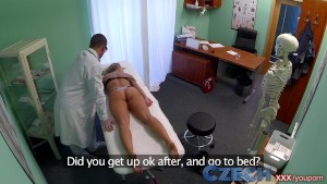 Czech Dizzy blonde squirts and recieves a creampie prescription from the doctor