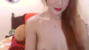 Gorgeous Busty Shemale Masturbating her Hard Cock