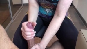 Housewife in boots gives handjob