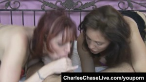 Charlee Chase Double Teams A Cock with Sexy Redhead!