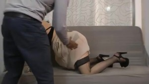A false French casting agent fucks a pretty brunette slut.