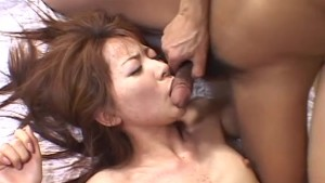 Oriental hairy pussy penetrated by sex toys