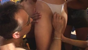 Blonde lady gangbang by mob - Java Productions