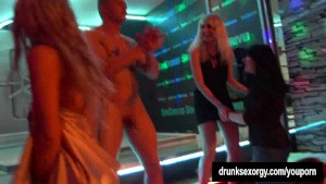 Hot girls dancing erotically in a club