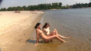 Nudist beach brings the best out of three hot teens