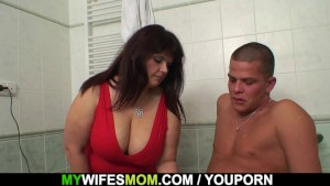 Busty mother inlaw helps him cum