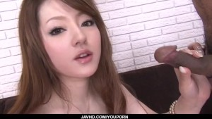Ria Sakurai craves to swallow jizz after such strong blowjob