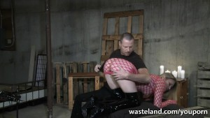 Sexy blonde slave treated to orgasms after being spanked and flogged