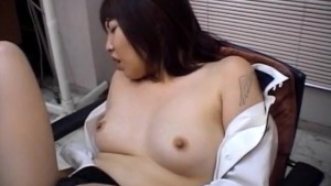 Chiharu Okuna gets fingers in licked cunt and hard penis in mouth