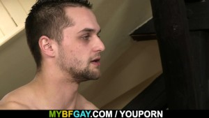 Gay muscle seduces his married buddy