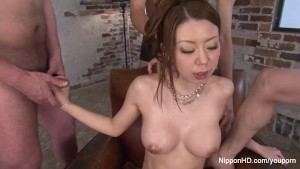 Big boob slut gets showered in cum after blowbang