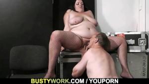 Busty plumper rides stranger s cock