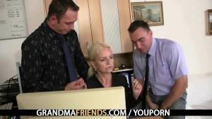 Old blonde enjoys two cocks