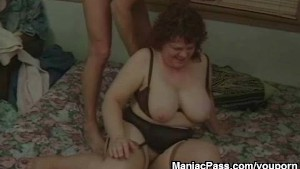 Granny shaving and taking cock