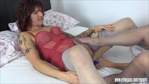 Sexy Milf anal toys tgirl and teases her big cock to cum over her big tits